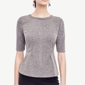 Ann Taylor Structured Tweed Peplum Top   B574